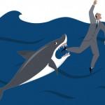 Shark biting a drowning businessman